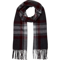 River Island MensDark grey brushed plaid scarf