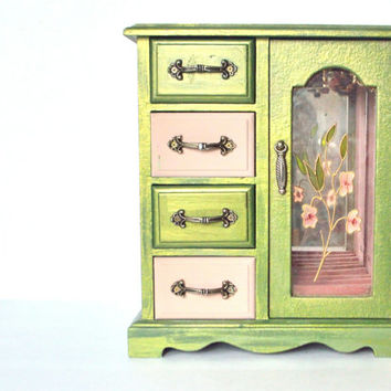 Jewelry Box - Jewelry Storage - Jewelry Holder in Pink and Green - Large Jewelry Drawer Storage With Necklace Holder
