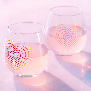 Rainbow Stemless Wine Glasses Set - Urban Outfitters