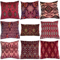 Ikat Pillows Maroon Set of 9 16x16 by ginette1223 on Etsy