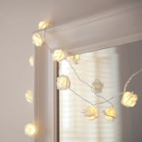 INST 10 LED Battery Operated White Rose Flower Fairy Lights