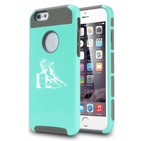 For Apple iPhone 5 5s 5c 6 6s Plus Shockproof Impact Dual Layer Hard Cover / Soft Silicone Rubber Inside Case Female Barrel Racing Cowgirl