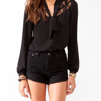 Lace Panel Tie-Collar Blouse