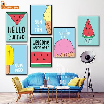 COLORFULBOY Ice Cream Watermelon Pop Art Posters And Prints Canvas Painting Wall Art Print Canvas Pictures For Living Room Decor