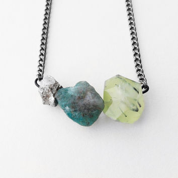Prehnite Apatite and Pyrite Collection Necklace