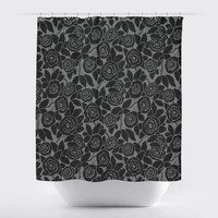 Fabric Camellia Flowers-Black on Grey