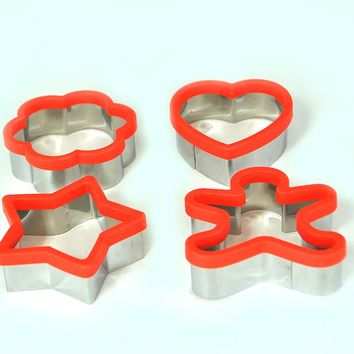 Uniware Large 3 Inches Stainless Steel Cookie Cutter Set of 4 (Heart Cookie Cutter, Star Cookie Cutter and Flower Cookie Cutter, Ginger Bread Man Cookie Cutter) (Red)