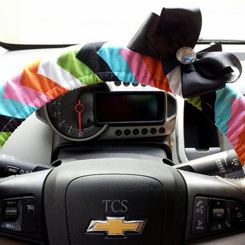 Multi Color Chevron Steering Wheel Cover with Matching Bow