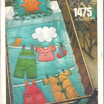Vogue's 1475 Little Vogue Pattern for Crib Quilt, Pillow Sham, Transfers, From 1970s, FACTORY FOLDED, UNCUT, Vintage Pattern, Home Sewing