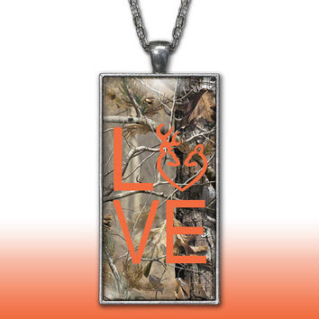 Camo Love Heart Pendant Charm Necklace Deer Head Browning Orange Country Girl Custom Necklace Silver Plated Jewelry