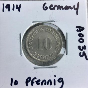 1914 German Empire 10 Pfennig Coin A0035