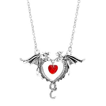 MQCHUN Vintage Necklace Jewelry Women Crystal Heart Necklace Dragon Necklaces Game Of Thrones Jewelry