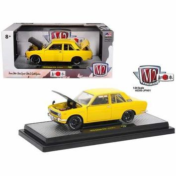 "1970 Datsun 510 ""Auto-Japan"" Yellow with Gloss Black Hood 1/24 Diecast Model Car by M2 Machines"