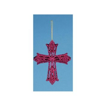 ONETOW 5' Fuchsia Glitter Drenched Latin Cross Christmas Ornament