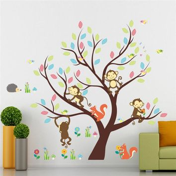 cartoon monkey squirrel animals colorful tree wall art stickers for living room nursery decor kids posters diy removeable decals gift