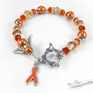 Leukemia Cancer bracelet awareness jewelry Guardian Angel bracelet cancer awareness orange ribbon bracelet cancer kidney ribbon awareness