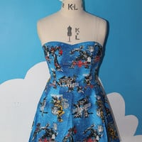 blue transformers sweet heart dress - optimus
