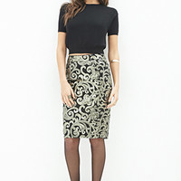 Baroque Sequins Pencil Skirt