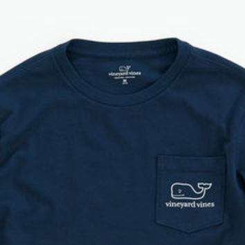 Boys T-Shirts: Long-Sleeve Santa Hat Graphic Pocket T-Shirt - Vineyard Vines
