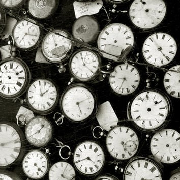 Black and White Clocks Photograph - Steampunk Old Watches Print - 8x8 photo print