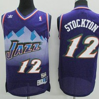 Utah Jazz #12 John Stockton Purple Retro Swingman Jersey