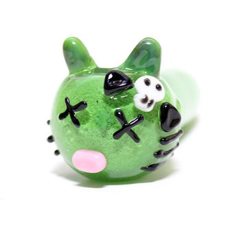 Glass Pipe- Zombie Kitty - Hedcraft Glassworks-