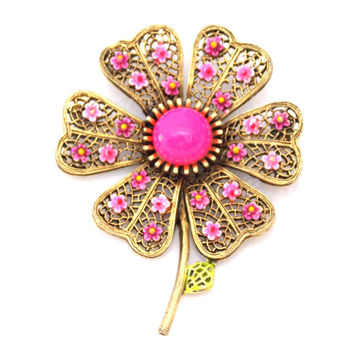 Vintage Signed Art Enamel Floral Brooch Hot Pink Gold Tone 1960s Filigree Work