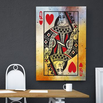 Queen Of Hearts Vintage Playing Card Framed Canvas Wall Art For Home Poker Room