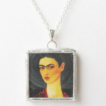 frida kahlo pendant necklace chain small delicate by peeno123