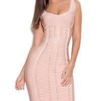 Nude Bodycon Bandage Dress with Metal Embellished