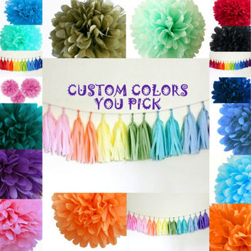 Tissue paper pom pom kit 5 poms // wedding decor // bachelorette party // reception // pom party decor