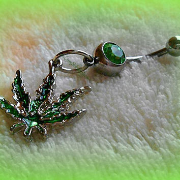 Hemp Leaf Green Belly Ring, Marijuana, Weed, Mary Jane, 420