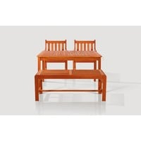 Sturdy and Large Dining Set with rectangular table, backless bench and Arm Chairs 15
