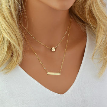 Layered Necklace Personalized, Initial Disc, Engraved Bar Necklace, Layering Necklace Set, Gold Filled Chain, Silver, Rose Gold