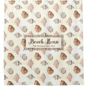 Seashells By The Seashore Personalized Beach House Shower Curtain