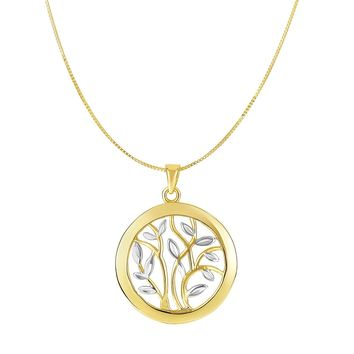 """14k Yellow And White Gold Round Tree Of Life Necklace, 18"""""""