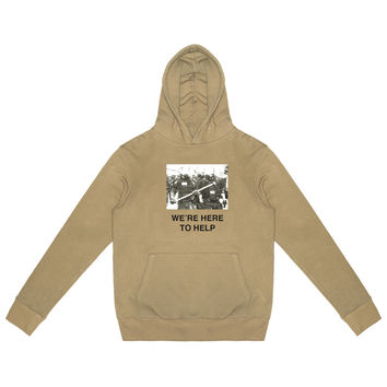 424-We're Here To Help Pullover Hoodie (Camel)- PRE ORDER