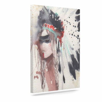 "Rebecca Bender ""Warrior Bride"" Beige Multicolor Canvas Art"