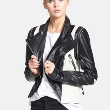 Nicole Benisti Two-Tone Moto Jacket with Zip-Off Sleeves