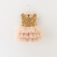 Sequin Newborn Baby Princess Wedding First Birthday Party Dress Girl