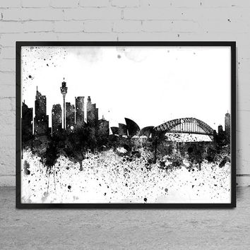 Sydney City Watercolor Skyline Wall Art Print - Sydney  Watercolor Art - Abstract Watercolor Painting -x87