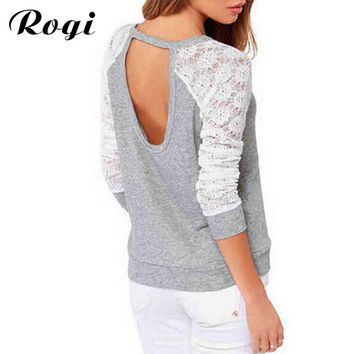 Rogi Sudaderas Mujer Spring Women Long Sleeve Lace Crochet Hoodies Sweatshirt Pullovers Backless Tracksuits Tops Camisetas Mujer