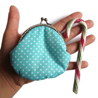 Dots frame coin purse, turquoise coin purse with frame, frame coin purse for christmas gift