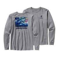 Patagonia Men's Long-Sleeved World Trout® Steelhead Organic Cotton T-Shirt | Gravel Heather