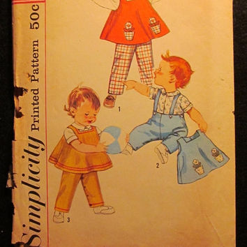 Sale 1950's Simplicity Sewing pattern, 3693! Size 1/2 Infant/Newborn/Girls/Boys/Toddlers/Blouse/Tops/Pants/Flower Pot Transfers/Overalls/Shi