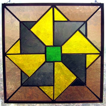 Handmade Stained Glass Double Pinwheel Quilt Square Ten Inch  Window Hanging w Blenko Mouth Blown Glass, Appalachian Folk Art