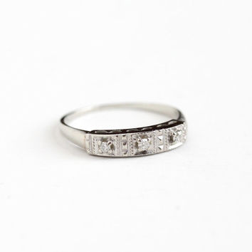 Vintage 14k White Gold Diamond Wedding Band Ring - Size 6 1/2 Mid-Century 1950s 1960s Wedding Fine Bridal Stacking Retro Jewelry