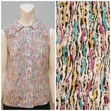 Vintage Handmade Button Down Blouse with Abstract Pattern and Peter Pan Collar - Hot Pink, Turquoise, Black and Yellow Design - Shirt Top