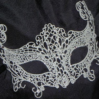 Silver Lace Masquerade Mask - Available in Black or White