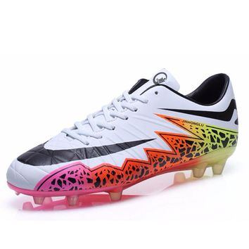 7 Colors Outdoor Football Shoes Grass Lawn Soccer Shoes Cleats For Adults Brand Childr